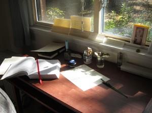 sunlight in the morning on desk